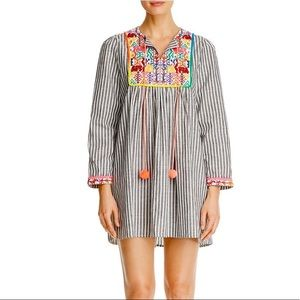 Dresses & Skirts - Grey Striped Embroidered Tunic Dress